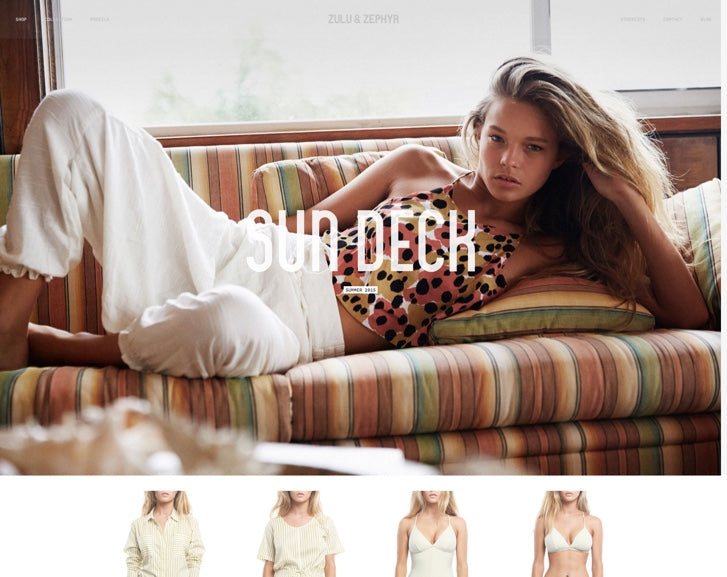 Fashion ecommerce website design: Zulu & Zephyr