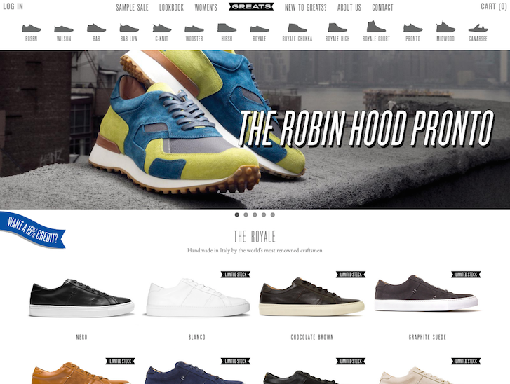Ecommerce Website Design - Greats
