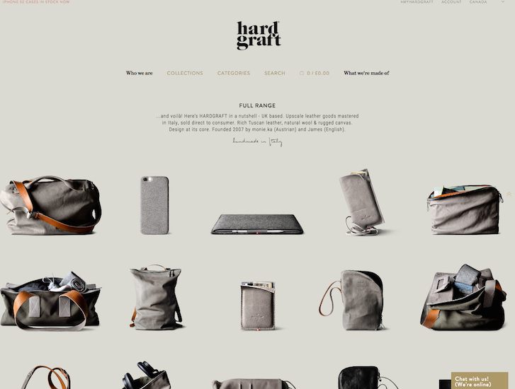 Ecommerce Website Design - Hardgraft