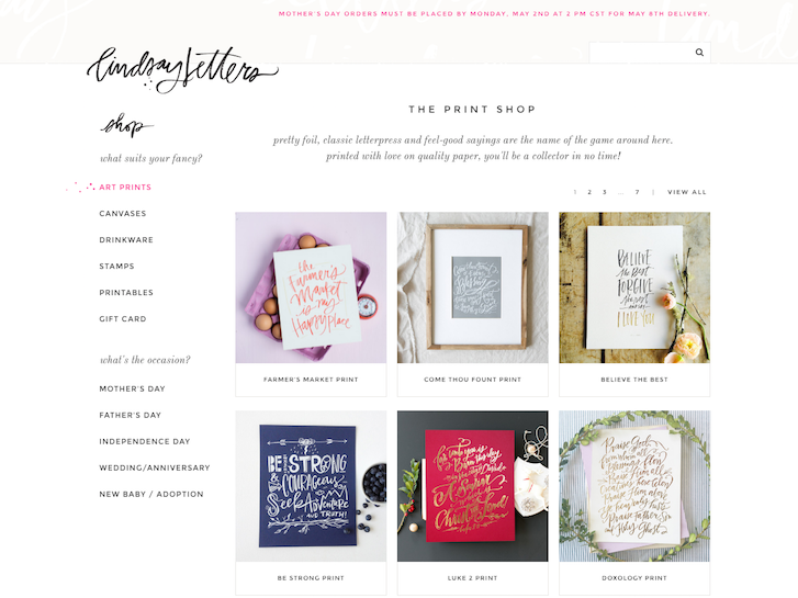 Ecommerce Website Design - Lindsay Letters