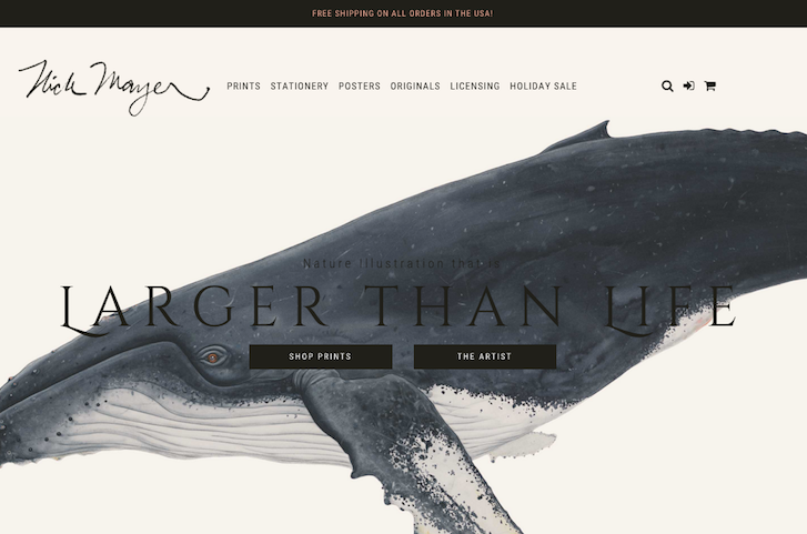 Ecommerce Website Design: Nick Mayer Art