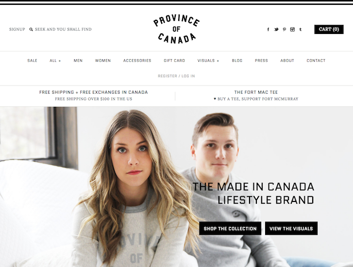 Ecommerce Website Design - Province of Canada