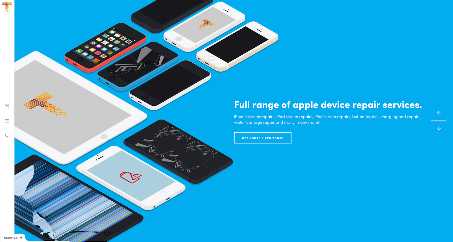 Ecommerce Websites: iPhone Surgery Homepage