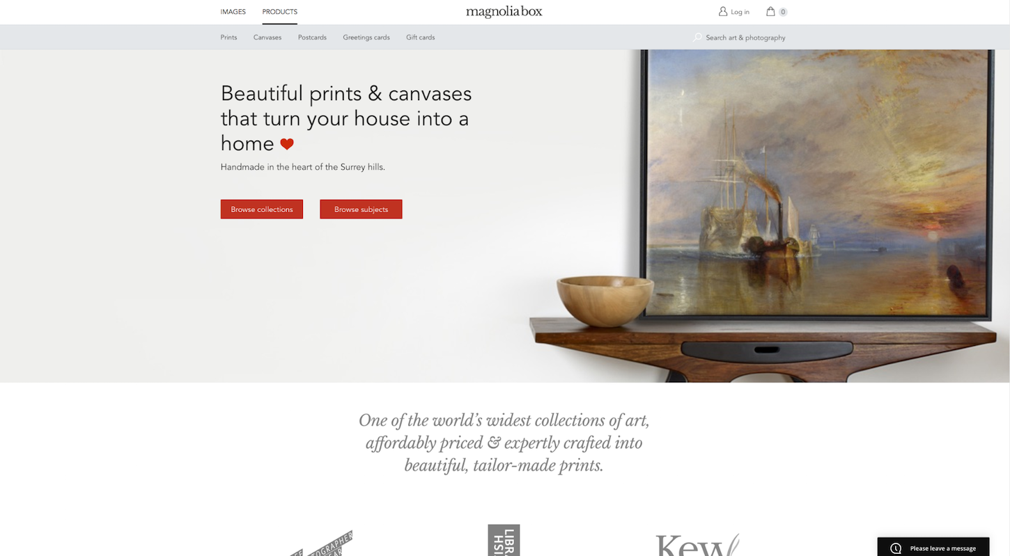 Ecommerce Websites: Magnolia Box Homepage