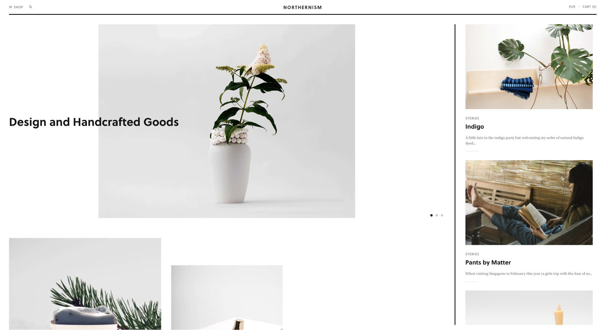 Ecommerce Websites: Northernism Homepage