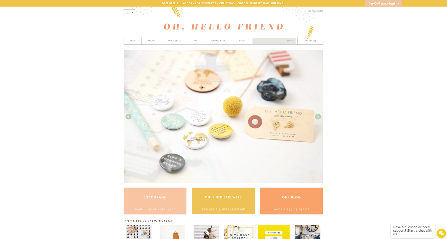 Ecommerce Websites: Oh, hello friend. Homepage