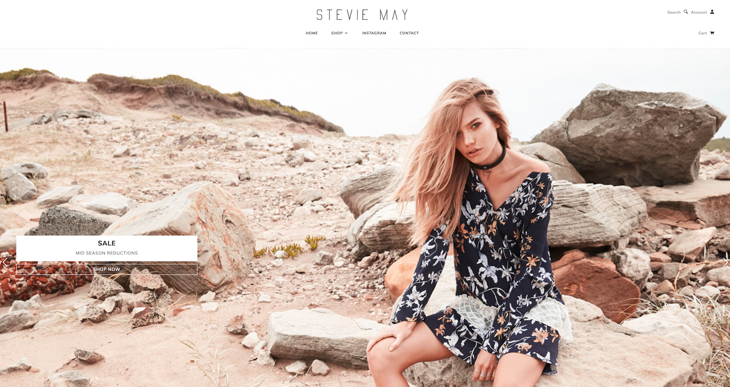 Ecommerce Websites: Stevie May Homepage