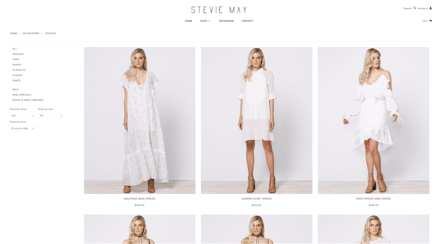 Ecommerce Websites: Stevie May Product Page