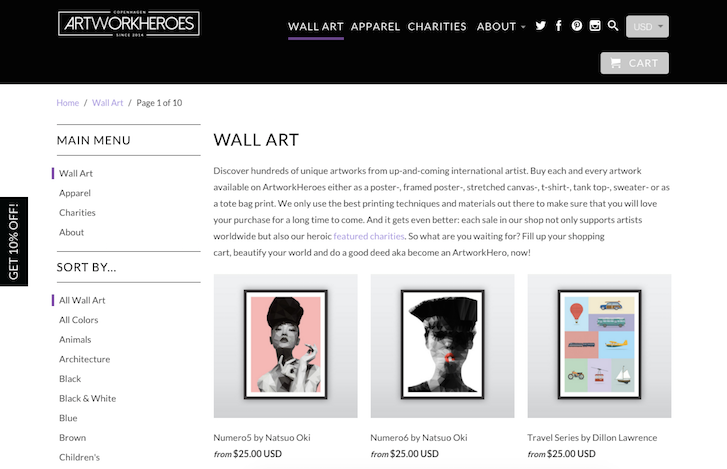 Ecommerce Website Design: Artwork Heroes