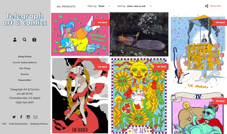 Ecommerce Website Design: Telegraph Art and Comics