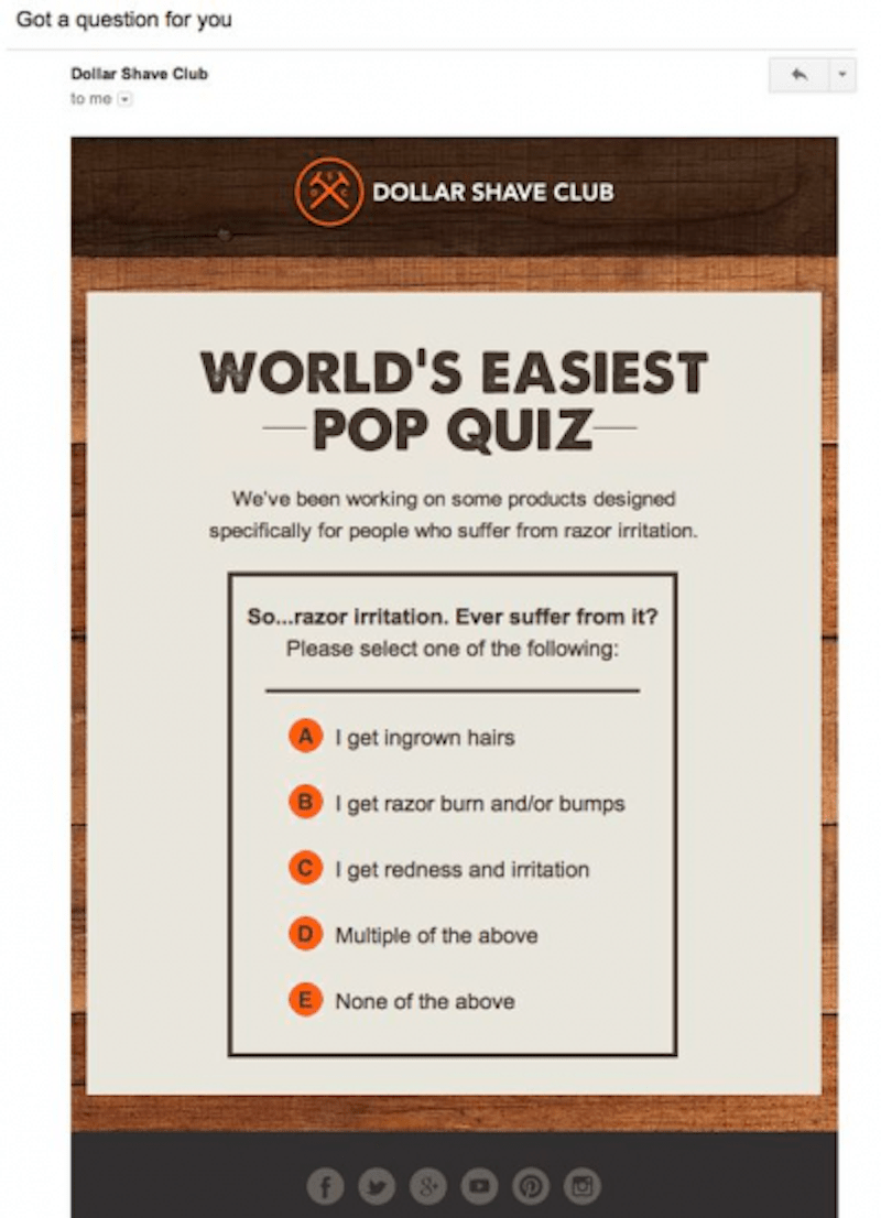 email marketing subscription business: dollar shave club