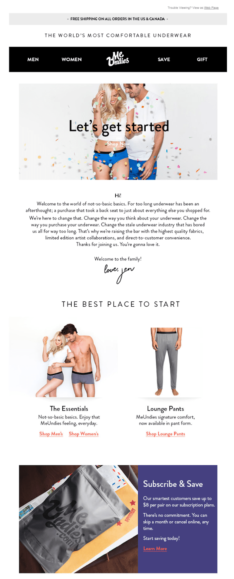 email marketing subscription business: meundies