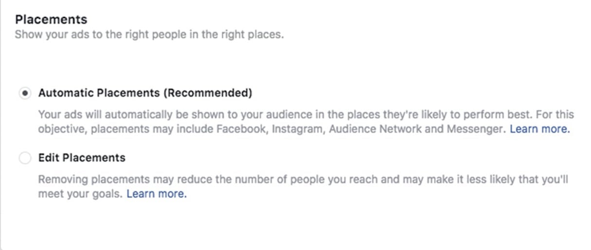 facebook marketing: placements