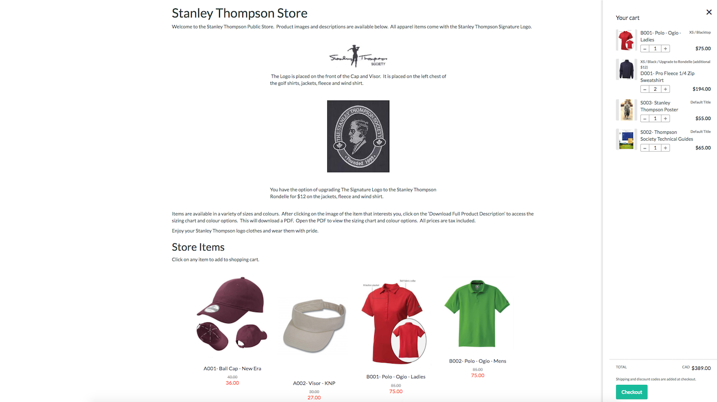 Four smart reasons to embed a shopify store: Stanley thompson store