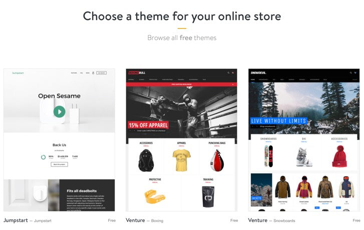 free shopify themes and apps