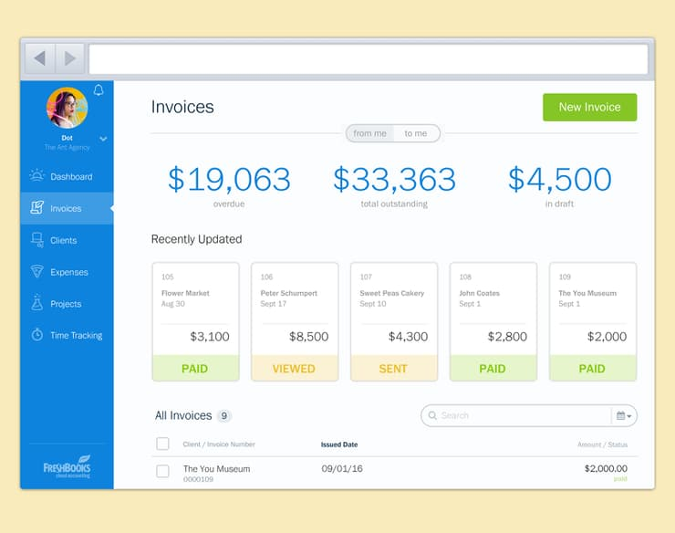 freelancer tools: freshbooks