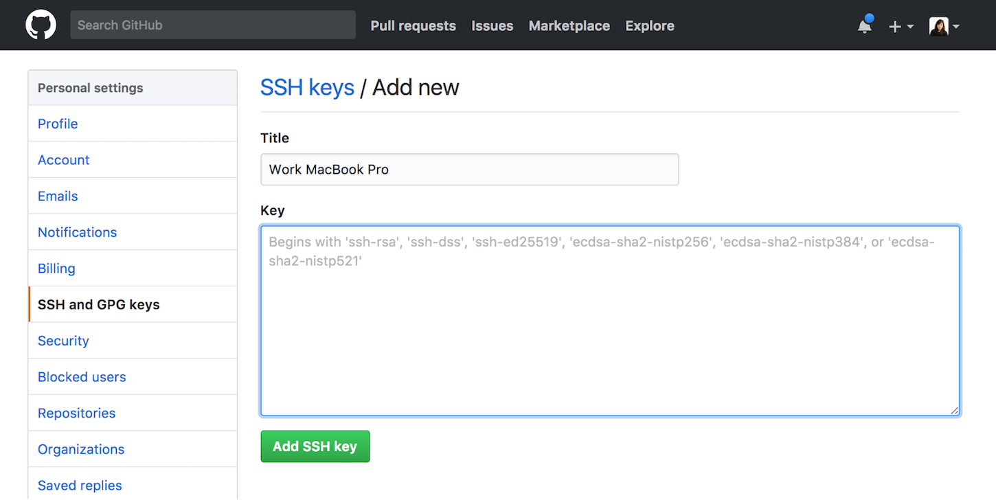 git guide: add ssh