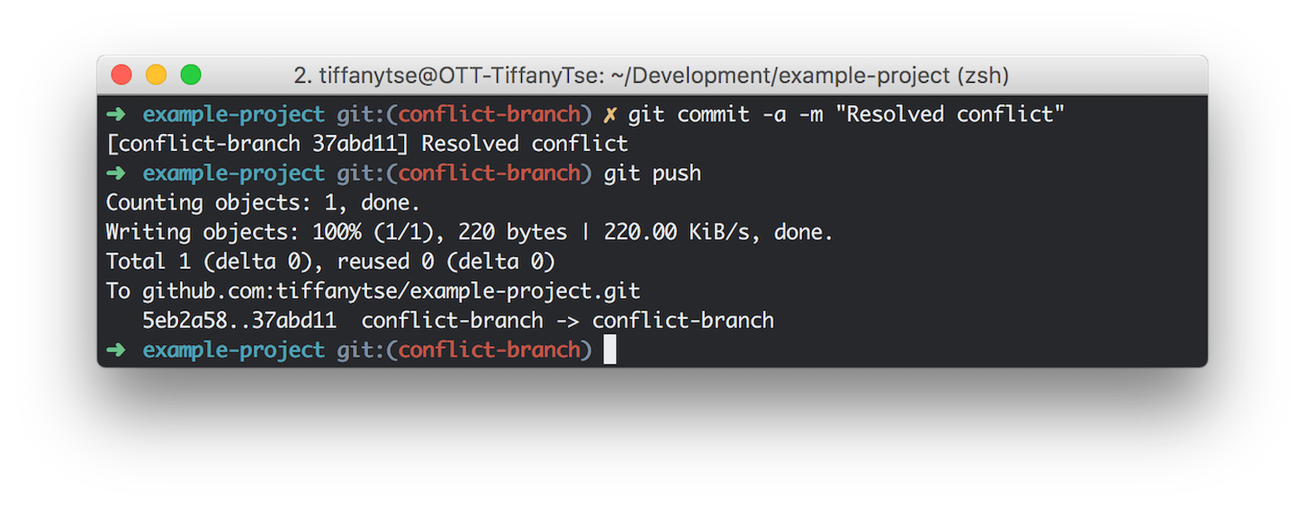 git guide: resolved conflict