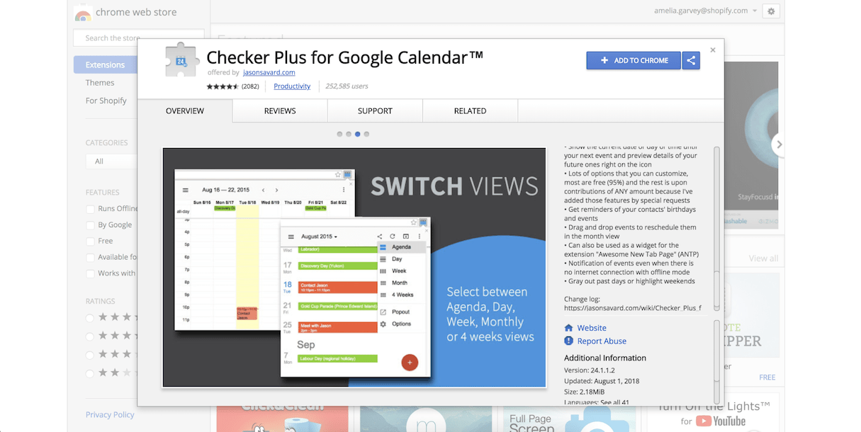 google calendar extension: checker plus