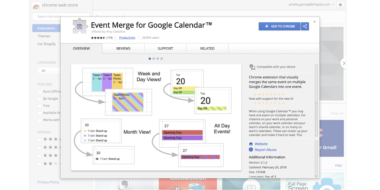 google calendar extension: event merge