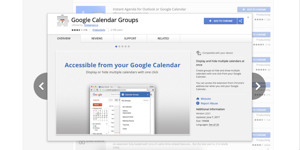 google calendar extension: google calendar groups