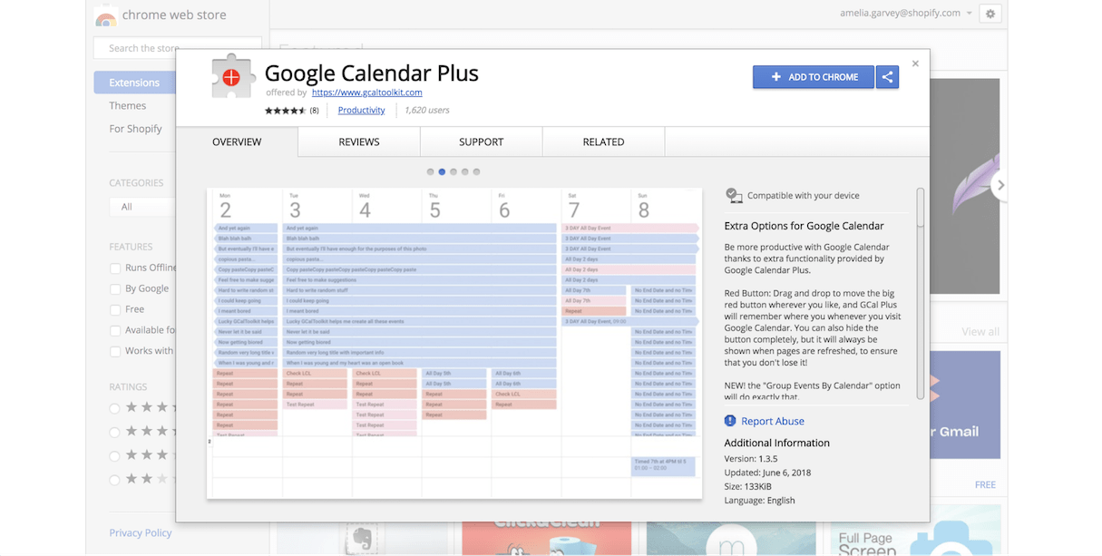 google calendar extension: google calendar plus