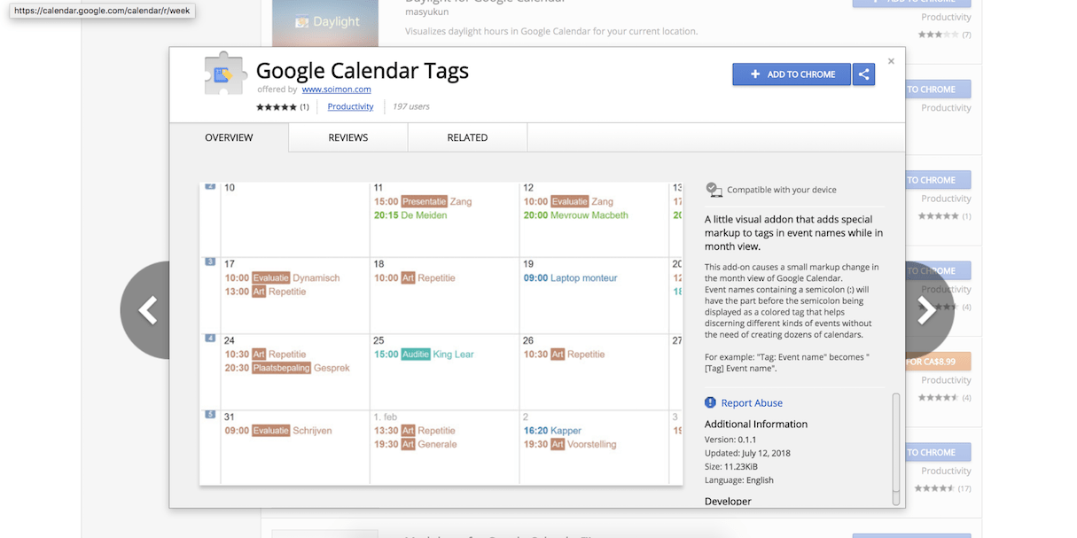 google calendar extension: google calendar tags