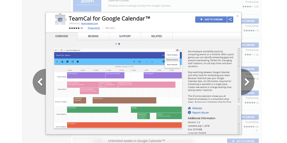 google calendar extension: teamcal
