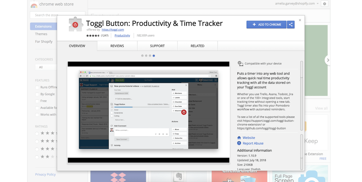 google calendar extension: toggl button