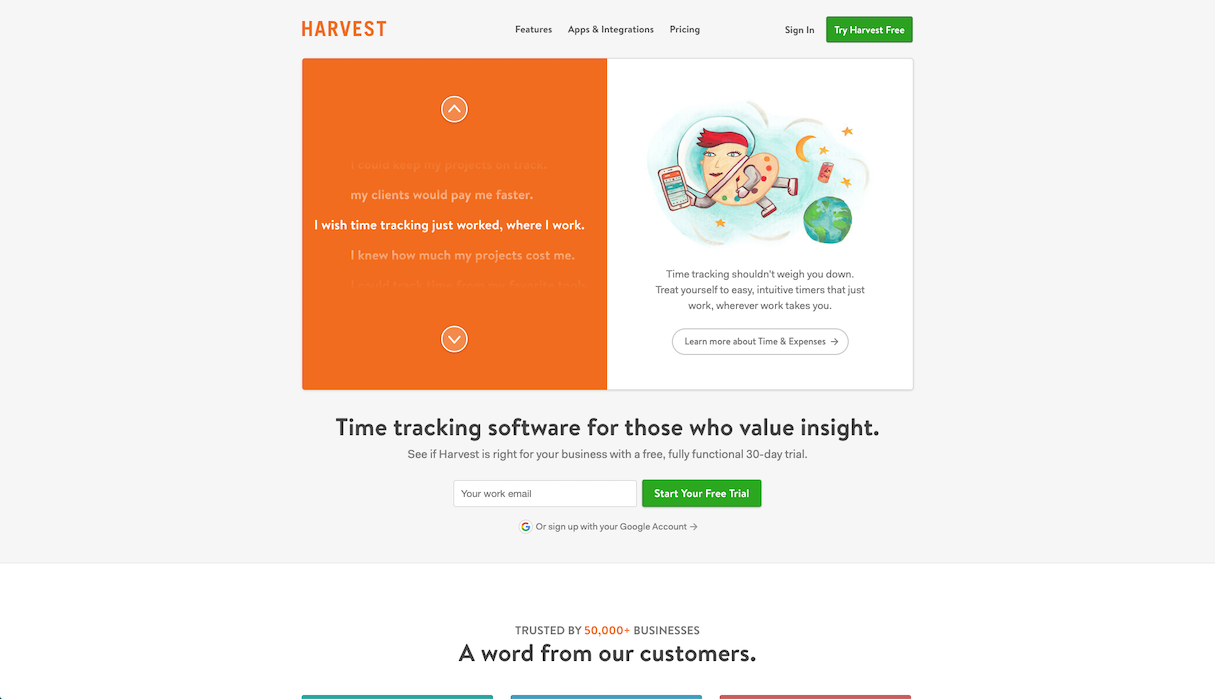 harvest time tracking app