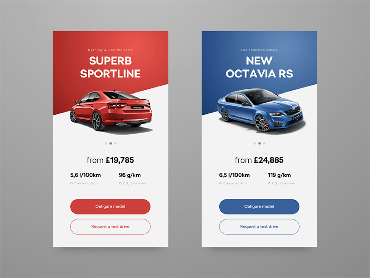 header design: product cards