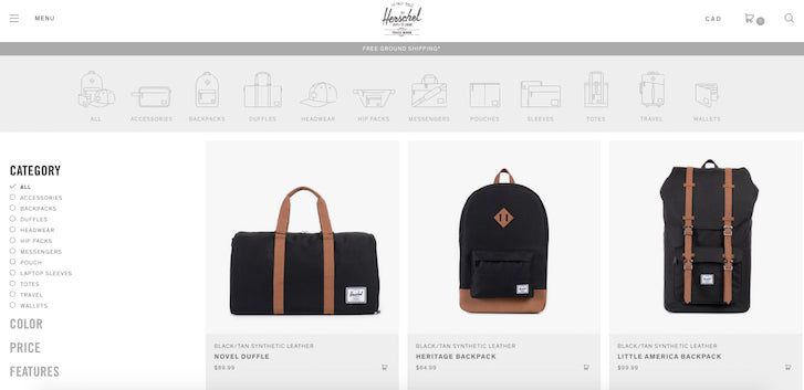 Desiging Ecommerce Site that Converts: Herschel Simple Navigation Menu