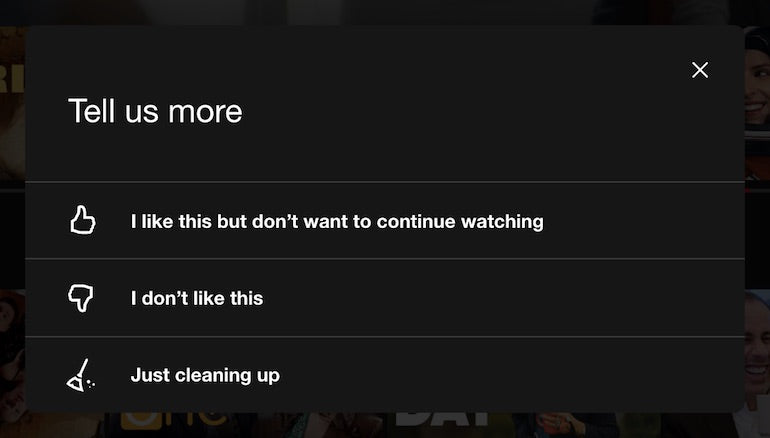 in-app surveys: Screenshot of Netflix's viewing preferences survey with three options after the prompt to