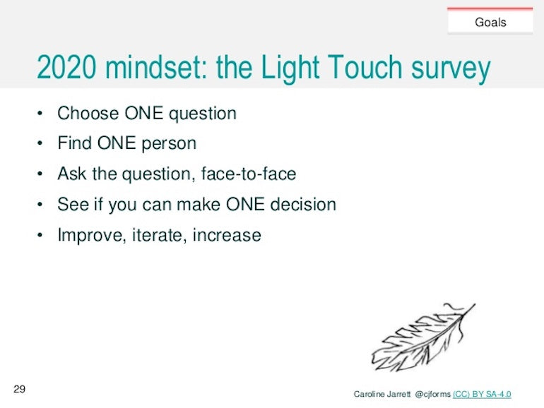in-app surveys: Screenshot of a presentation slide about the Light Touch survey. Carline Jarrett recommends choosing one question, finding one person, asking the question face-to-face if possible, seeing if you can make one decision from the data, and then improve, iterate, and increase based on that decision.