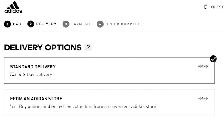 interaction design: The Adidas checkout is a good example of interaction design. In this screenshot of the Adidas checkout, there are four steps in the checkout process: 1. Bag. 2. Delivery. 3. Payment. 4. Order Complete. For step two, delivery options offer free standard delivery with a 4-8 day delivery or a pickup in store option.