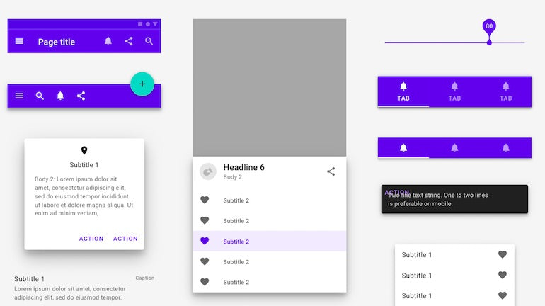 interaction design: Effective interaction design means leveraging consistent elements throughout your design. In this Material Design UI kit, the same color scheme is used in various places to create a cohesive appearance.