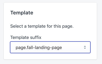 landing page template picker
