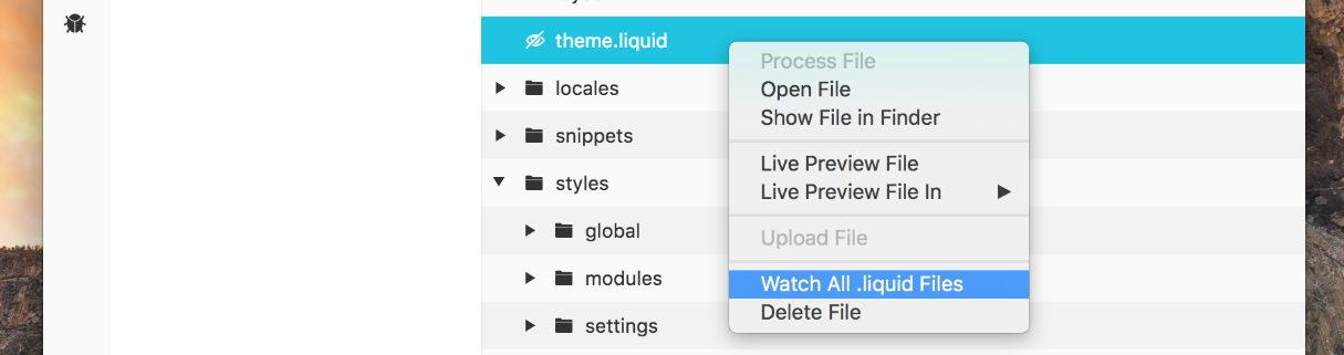 Live reloading Sass with Shopify: watching Liquid files