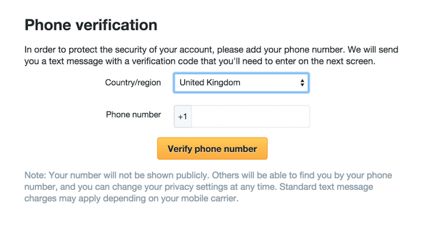 microcopy: screenshot of a Twitter prompt to add and verify a phone number to the user's account