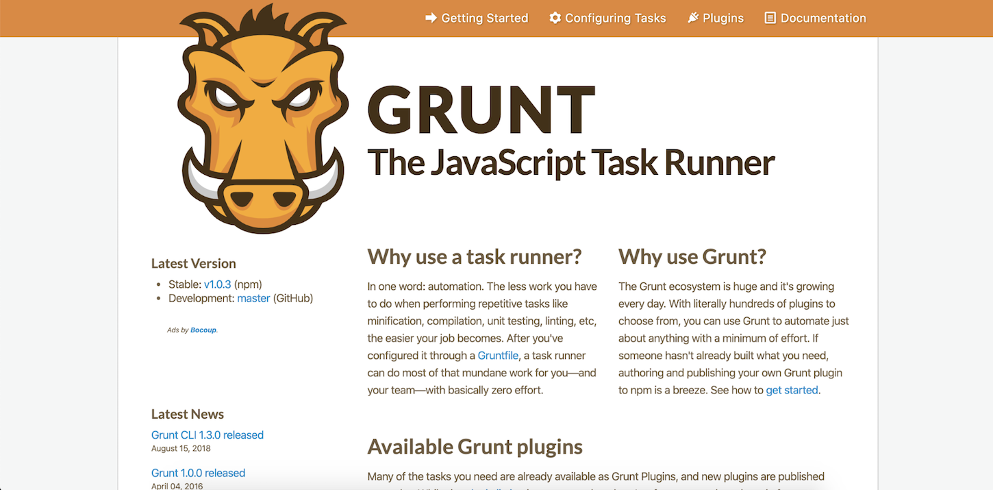 minification: GRUNT toolkit webpage