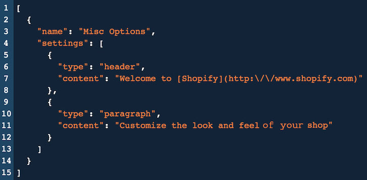 Introduction to Shopify Theme Options: JSON Misc Options