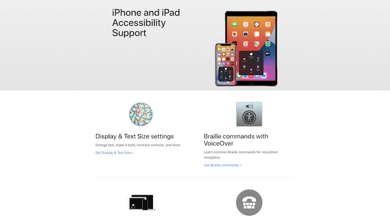 mobile accessibility: Screenshot of the iPhone and iPad accessibility support page showing accessibility options such as display and text size settings, and Braille commands with VoiceOver.