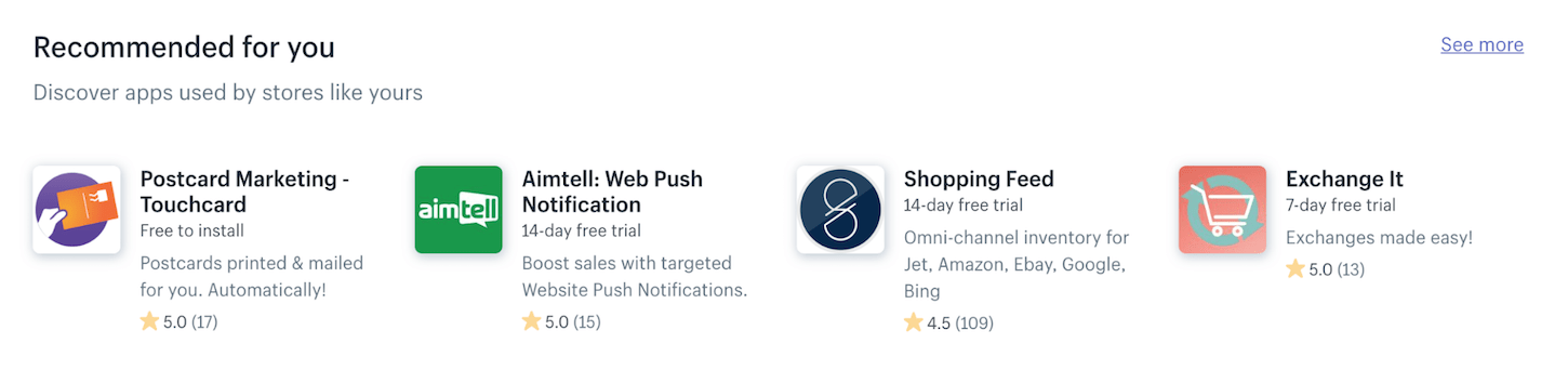 new shopify app store: recommendations