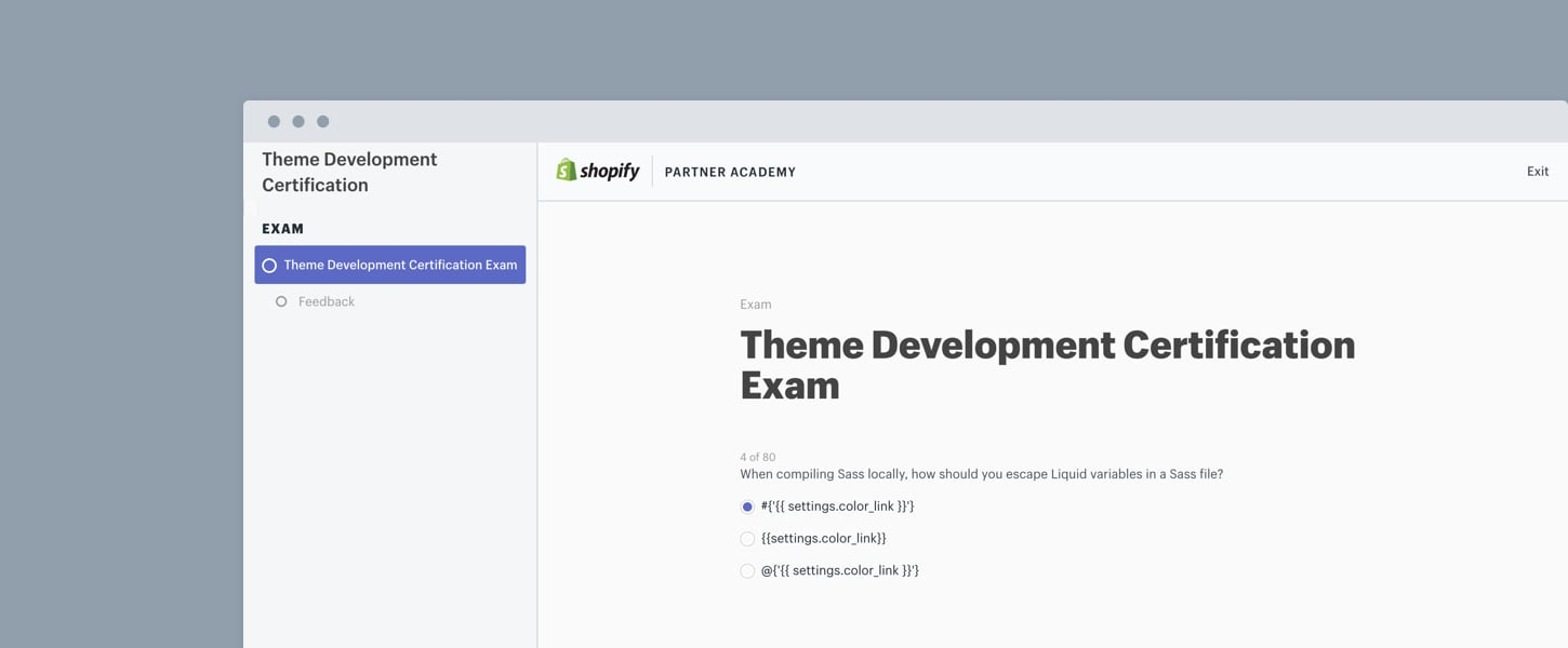 partner academy technical exams: theme