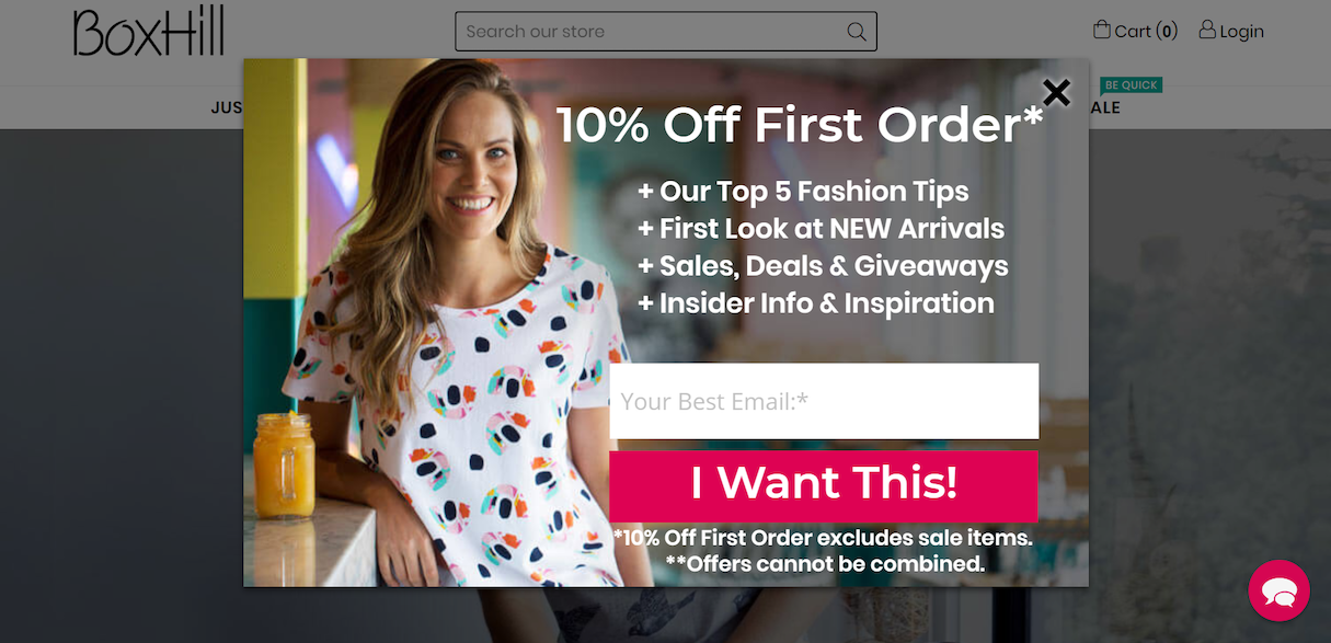 Popup discount example ecommerce
