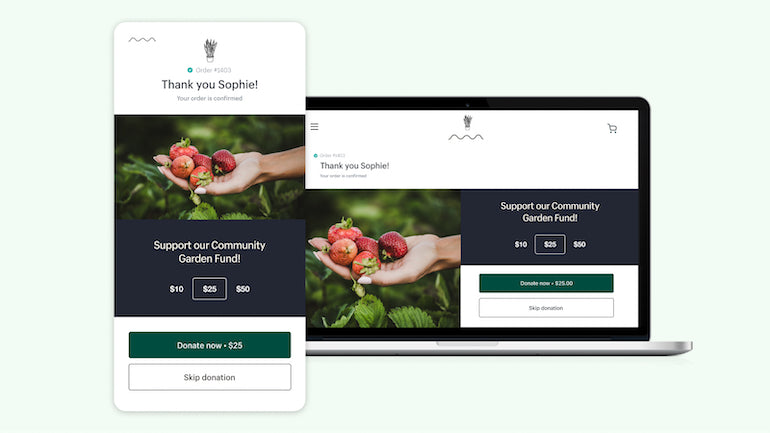 post purchase app: screenshots of mobile and desktop examples of a donation extension to support a community garden fund