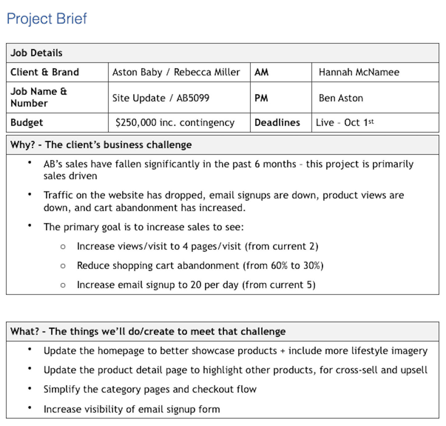 project management best practices: project brief
