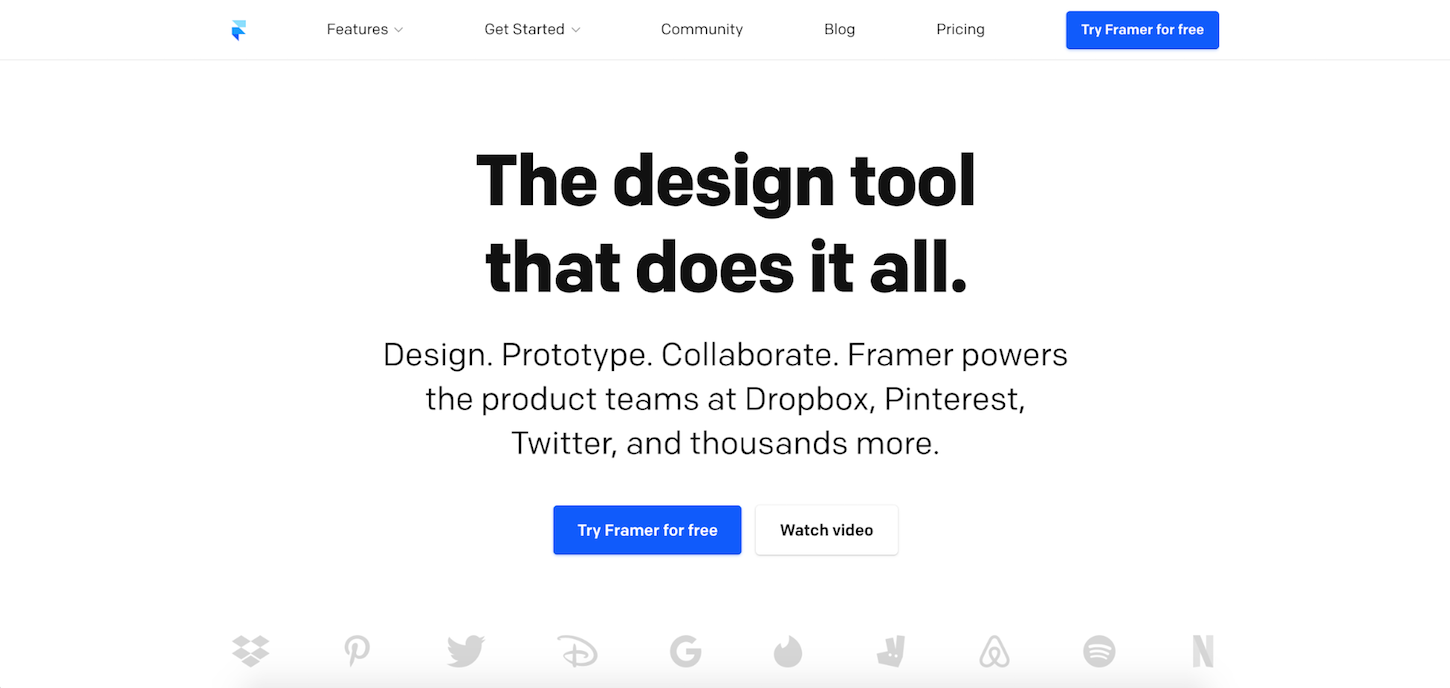 prototyping tools: framer