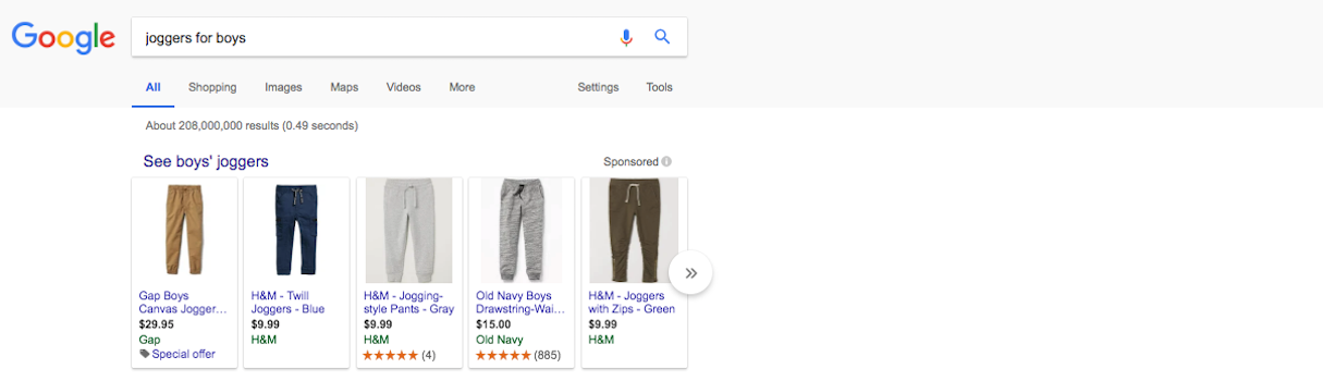 SEO web design Google Shopping listing
