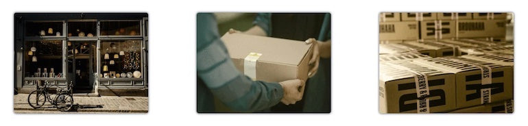 Three images, side by side. A bike in front of a shop, a person handing a package to another person, and stacks of boxes.